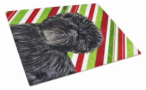 Affenpinscher Candy Cane Holiday Christmas Glass Cutting Board Large Perspective: front