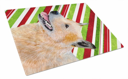 Australian Cattle Dog Candy Cane Holiday Christmas Glass Cutting Board Large Perspective: front