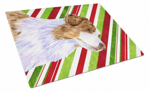 Australian Shepherd Candy Cane Holiday Christmas Glass Cutting Board Large Perspective: front
