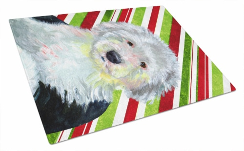 Old English Sheepdog Candy Cane Holiday Christmas Glass Cutting Board Large Perspective: front