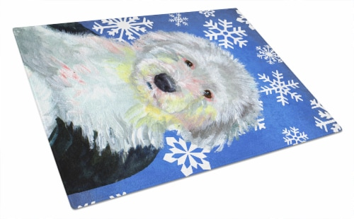 Old English Sheepdog Winter Snowflakes Holiday Glass Cutting Board Large Perspective: front
