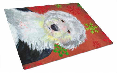Old English Sheepdog Red Snowflakes Christmas Glass Cutting Board Large Perspective: front
