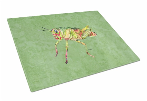 Carolines Treasures  8848LCB Grasshopper on Avacado Glass Cutting Board Large Perspective: front