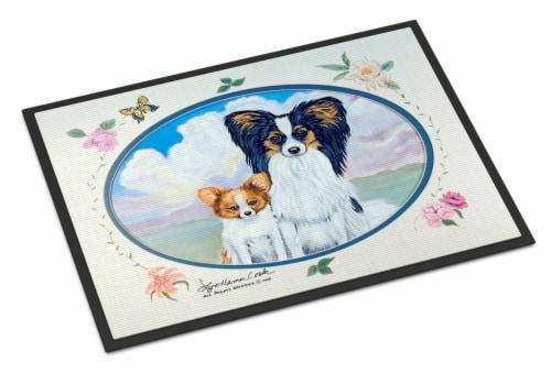 Carolines Treasures  7243MAT Papillon Indoor Outdoor Mat 18x27 Doormat Perspective: front