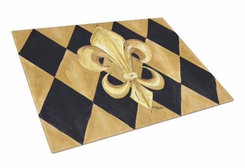 Black and Gold Fleur de lis New Orleans Glass Cutting Board Large Perspective: front