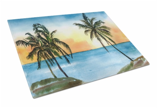 Carolines Treasures  8551LCB Palm Tree  Glass Cutting Board Large Perspective: front