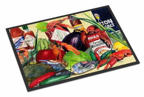 Carolines Treasures  1020MAT Spices and Crawfish Indoor or Outdoor Mat 18x27 Doo Perspective: front