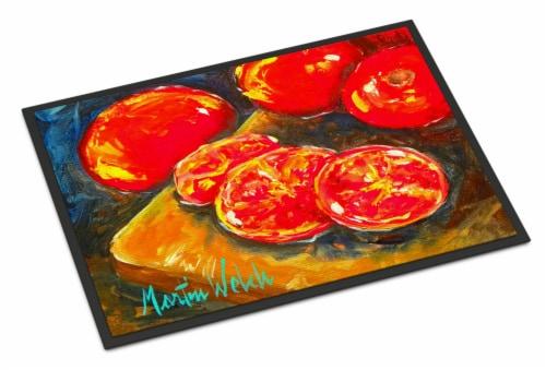 Vegetables - Tomatoes Slice It Up Indoor or Outdoor Mat 18x27 Doormat Perspective: front