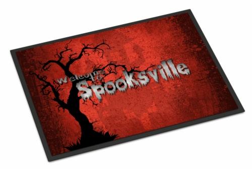 Welcome to Spooksville Halloween Indoor or Outdoor Mat 24x36 Doormat Perspective: front