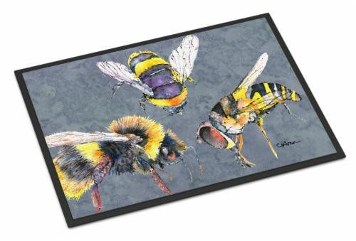 Carolines Treasures  8879JMAT Bee Bees Times Three Indoor or Outdoor Mat 24x36 D Perspective: front
