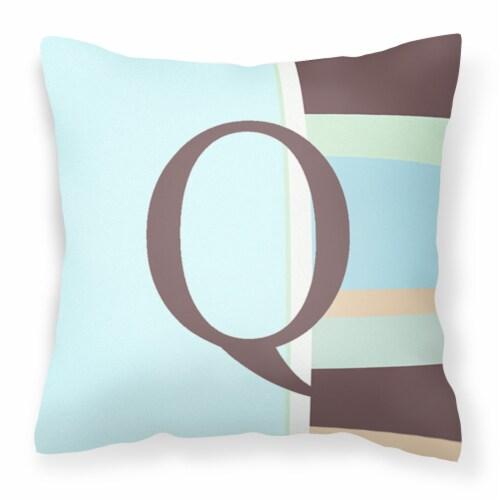 Letter Q Initial Monogram - Blue Stripes Decorative   Canvas Fabric Pillow Perspective: front