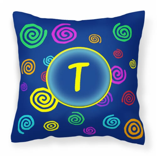 Initial Monogram - Blue Swirls Decorative   Canvas Fabric Pillow Perspective: front