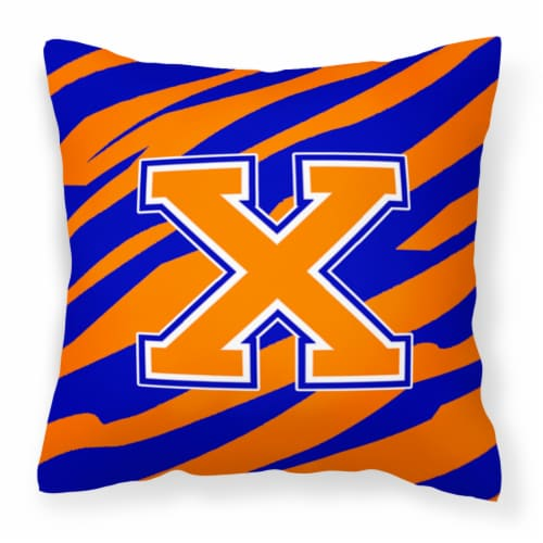 Monogram Initial X Tiger Stripe - Blue Orange Decorative   Canvas Fabric Pillow Perspective: front