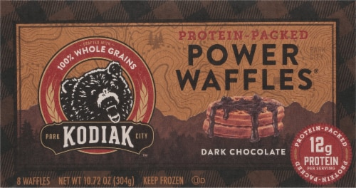 Kodiak Cakes Dark Chocolate Power Waffles Perspective: front