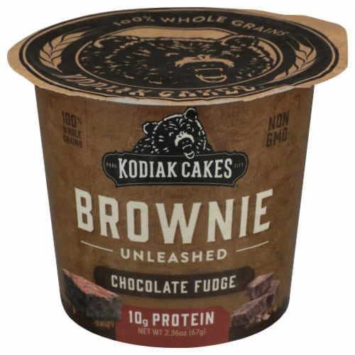 Kodiak Cakes Chocolate Fudge Brownie Unleashed Power Cup Perspective: front