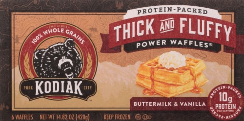 Kodiak Cakes Buttermilk & Vanilla Thick and Fluffy Waffles Perspective: front