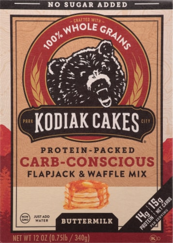 Kodiak Cakes Protein-Packed Carb-Conscious Flapjack & Waffle Mix Perspective: front