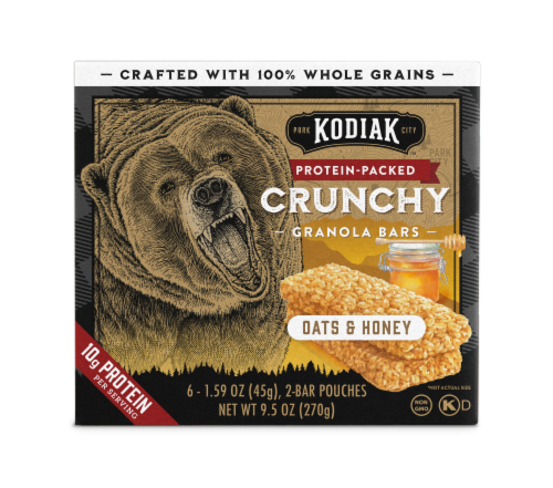 Kodiak Cakes Oats and Honey Protein-Packed Crunchy Granola Bars 6 Count Perspective: front