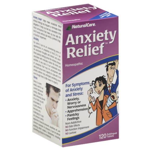 NaturalCare Anxiety Relief Homeopathic Sublingual Tablets Perspective: front