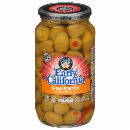 Early California Pimiento Stuffed Queen Green Olives Perspective: front