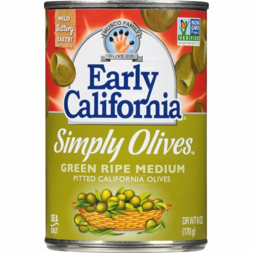 Early California Simply Green Ripe Medium Pitted California Olives Perspective: front