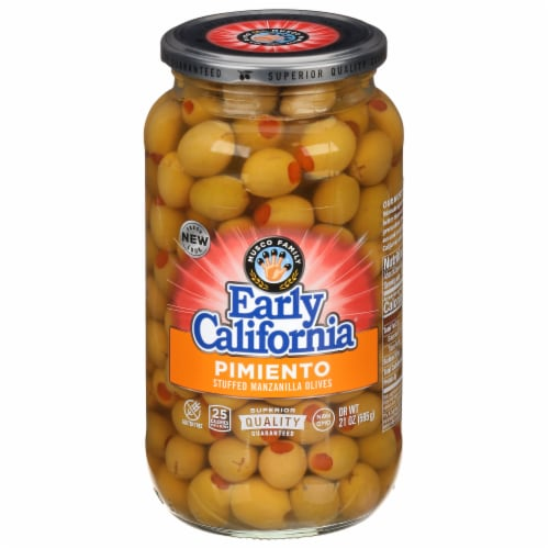 Early California Pimiento Stuffed Manzanilla Green Olives Perspective: front