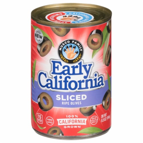 Early California Sliced Ripe Black Olives Perspective: front