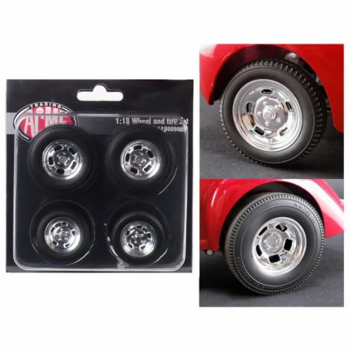 ACME A1800908W 1 isto 18 Polished Drag Wheels & Tires from 1941 Gasser, 4 Piece Perspective: front