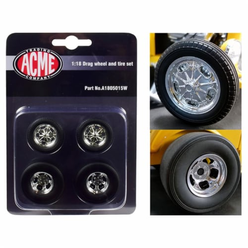ACME A1805015W 1 by 18 Scale Chrome Drag Wheel & Tire Set for 1932 Ford 3 Window Model - 4 Pi Perspective: front