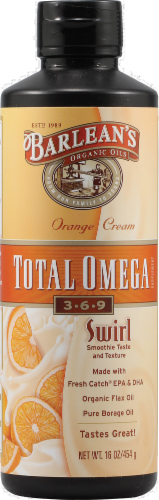 Barleans Omega Swirl Fish Oil Orange Cream Perspective: front