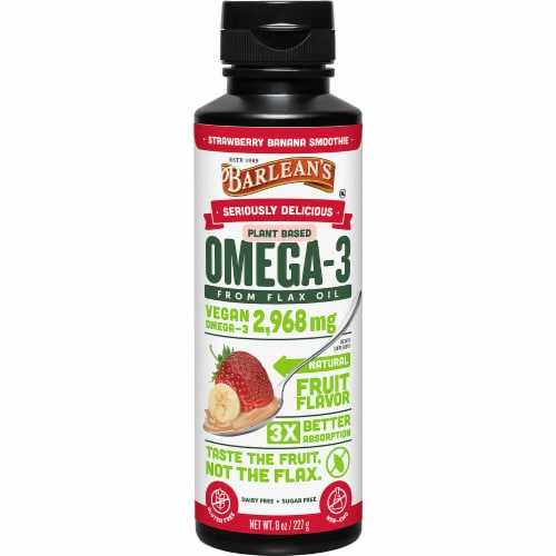 Barlean's Seriously Delicious Strawberry Banana Smoothie Omega-3 Flax Oil Perspective: front