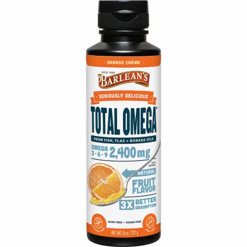 Barlean's Seriously Delicious Orange Crème Total Omega Oil Perspective: front