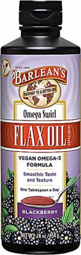 Barlean's  Omega Swirl Flax Oil Vegan Omega-3 Formula   Blackberry Perspective: front