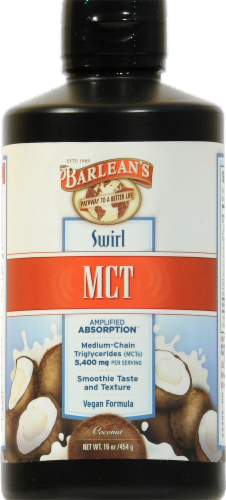 Barlean's Swirl Coconut MCT Perspective: front