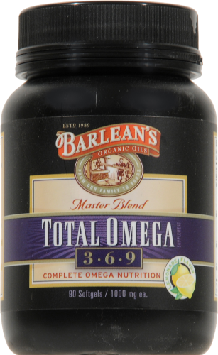 Barlean's Total Omega 3-6-9 Fish Oil Caplets Perspective: front