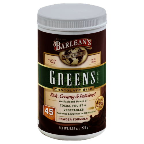 Barlean's Chocolate Silk Greens Powder Formula Perspective: front