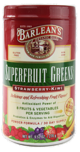 Barlean's Strawberry Kiwi Greens Powder Perspective: front