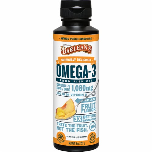 Barlean's Seriously Delicious Mango Peach Smoothie Omega-3 Fish Oil Perspective: front