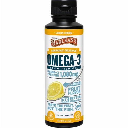Barlean's Seriously Delicious Lemon Crème Omega-3 Fish Oil Perspective: front