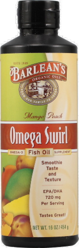 Barlean's Mango Peach Omega Fish Oil Perspective: front