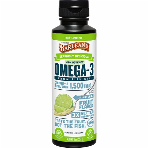 Barlean's Seriously Delicious Key Lime Pie High Potency Omega-3 Fish Oil Perspective: front