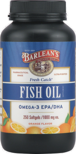 Barlean's Fresh Catch Omega-3 Fish Oil Softgels 250 Count Perspective: front