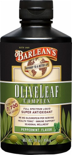 Barlean's Peppermint Olive Leaf Complex Liquid Perspective: front