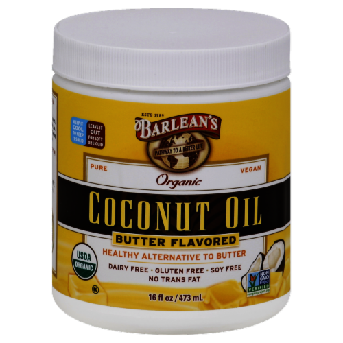 Barlean's Organic Butter Flavored Coconut Oil Perspective: front