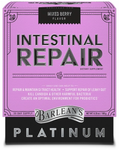 Barlean's Mixed Berry Intestinal Repair Dietary Supplement Perspective: front