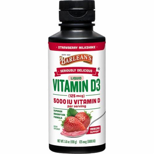Barlean's Seriously Delicious 5000 IU Liquid Vitamin D3 Strawberry Milkshake Perspective: front