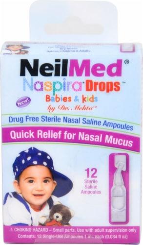 NeilMed  Naspira® Drops™ Drug Free Sterile Nasal Saline Ampoules Perspective: front