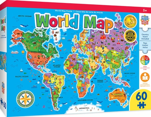 Educational World Map 60 Piece Jigsaw Puzzle Perspective: front