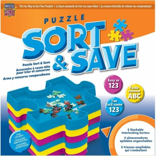 MasterPieces Sort & Save Stackable Jigsaw Puzzle Trays | Set of 6 Perspective: front