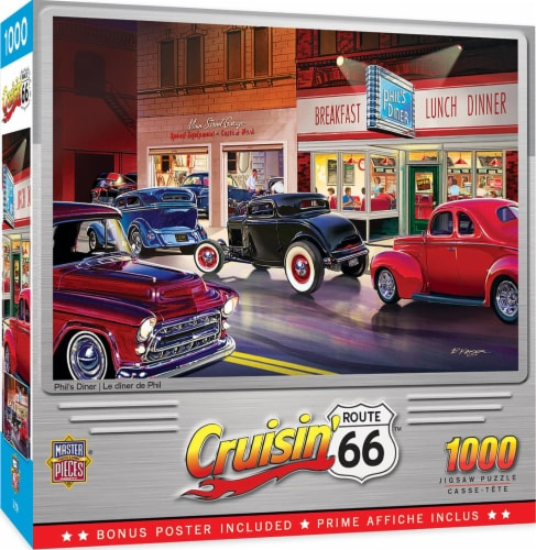Cruisin Route 66 Phils Diner Jigsaw Puzzle Perspective: front